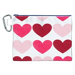 Valentine S Day Hearts Canvas Cosmetic Bag (xxl) by Nexatart