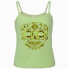 Sugar Skull Bones Calavera Ornate Green Spaghetti Tank