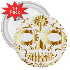 Sugar Skull Bones Calavera Ornate 3  Buttons (10 Pack)