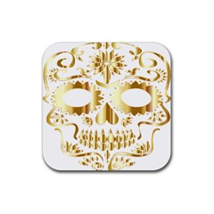 Sugar Skull Bones Calavera Ornate Rubber Coaster (square)