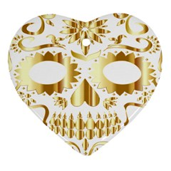 Sugar Skull Bones Calavera Ornate Heart Ornament (two Sides)