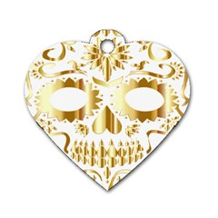 Sugar Skull Bones Calavera Ornate Dog Tag Heart (one Side)