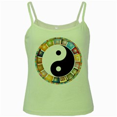 Yin Yang Eastern Asian Philosophy Green Spaghetti Tank