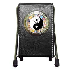 Yin Yang Eastern Asian Philosophy Pen Holder Desk Clocks by Nexatart