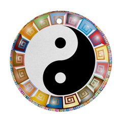 Yin Yang Eastern Asian Philosophy Round Ornament (two Sides) by Nexatart