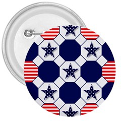 Patriotic Symbolic Red White Blue 3  Buttons