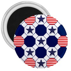 Patriotic Symbolic Red White Blue 3  Magnets by Nexatart