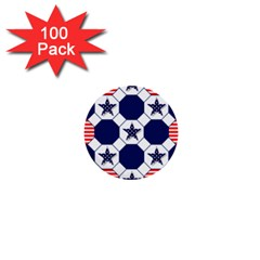 Patriotic Symbolic Red White Blue 1  Mini Buttons (100 Pack)
