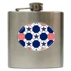 Patriotic Symbolic Red White Blue Hip Flask (6 Oz) by Nexatart