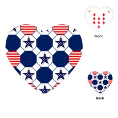 Patriotic Symbolic Red White Blue Playing Cards (heart)