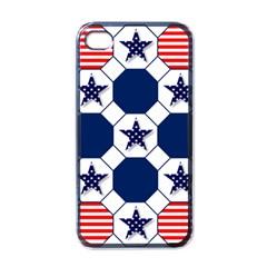 Patriotic Symbolic Red White Blue Apple Iphone 4 Case (black)