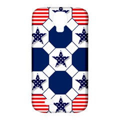 Patriotic Symbolic Red White Blue Samsung Galaxy S4 Classic Hardshell Case (pc+silicone)