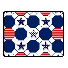 Patriotic Symbolic Red White Blue Double Sided Fleece Blanket (small)