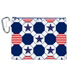 Patriotic Symbolic Red White Blue Canvas Cosmetic Bag (xl) by Nexatart