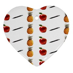Ppap Pen Pineapple Apple Pen Heart Ornament (two Sides) by Nexatart