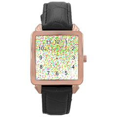 Confetti Celebration Party Colorful Rose Gold Leather Watch