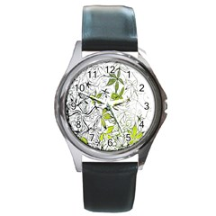 Floral Pattern Background Round Metal Watch by Nexatart