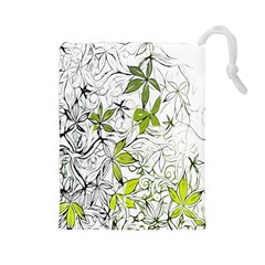 Floral Pattern Background Drawstring Pouches (large)  by Nexatart