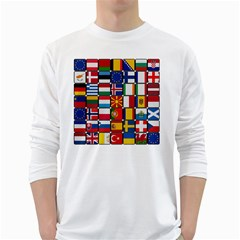 Europe Flag Star Button Blue White Long Sleeve T Shirts