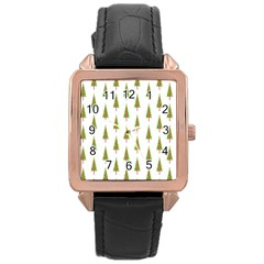 Christmas Tree Rose Gold Leather Watch