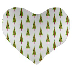 Christmas Tree Large 19  Premium Flano Heart Shape Cushions by Nexatart