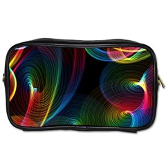 Abstract Rainbow Twirls Toiletries Bags 2 Side by Nexatart