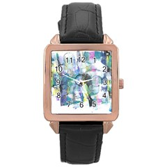 Background Color Circle Pattern Rose Gold Leather Watch