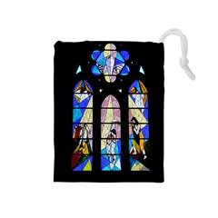 Art Church Window Drawstring Pouches (medium)  by Nexatart