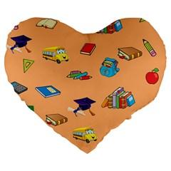School Rocks! Large 19  Premium Flano Heart Shape Cushions by athenastemple
