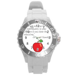 Fruit Of Education Round Plastic Sport Watch (l) by athenastemple
