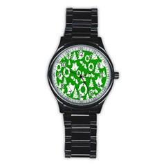 Backdrop Background Card Christmas Stainless Steel Round Watch by Nexatart