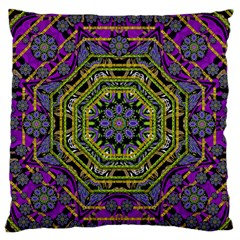 Wonderful Peace Flower Mandala Large Flano Cushion Case (one Side) by pepitasart