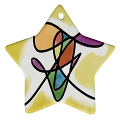 Art Abstract Exhibition Colours Star Ornament (two Sides) by Nexatart