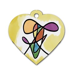 Art Abstract Exhibition Colours Dog Tag Heart (one Side)