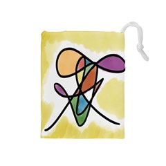 Art Abstract Exhibition Colours Drawstring Pouches (medium)  by Nexatart