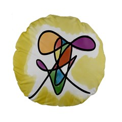 Art Abstract Exhibition Colours Standard 15  Premium Flano Round Cushions