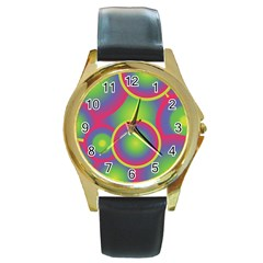 Background Colourful Circles Round Gold Metal Watch by Nexatart