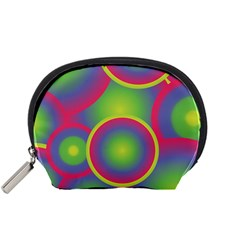 Background Colourful Circles Accessory Pouches (small)  by Nexatart