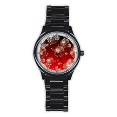 Background Red Blow Balls Deco Stainless Steel Round Watch