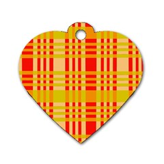 Check Pattern Dog Tag Heart (one Side) by Nexatart