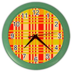 Check Pattern Color Wall Clocks by Nexatart