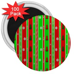 Christmas Paper Pattern 3  Magnets (100 Pack) by Nexatart