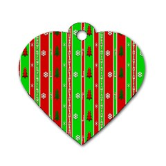 Christmas Paper Pattern Dog Tag Heart (two Sides) by Nexatart