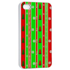 Christmas Paper Pattern Apple Iphone 4/4s Seamless Case (white) by Nexatart