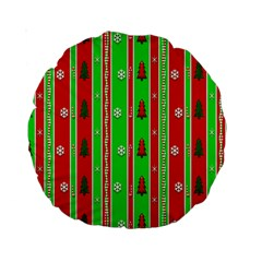 Christmas Paper Pattern Standard 15  Premium Round Cushions