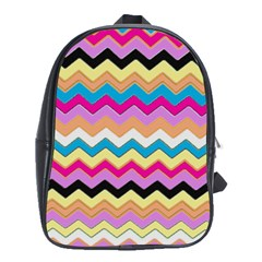 Chevrons Pattern Art Background School Bags(large)  by Nexatart