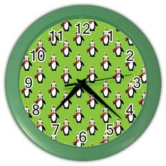 Christmas Penguin Penguins Cute Color Wall Clocks