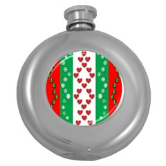 Christmas Snowflakes Christmas Trees Round Hip Flask (5 Oz)