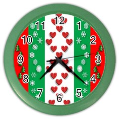 Christmas Snowflakes Christmas Trees Color Wall Clocks