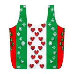Christmas Snowflakes Christmas Trees Full Print Recycle Bags (l)